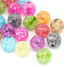 "100PCs Mixed Crackle Acrylic Spacer Ball Beads 12mm(4/8"") Dia."
