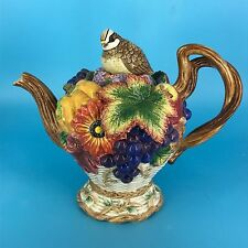 FITZ & FLOYD CLASSICS AUTUMN BOUNTY THANKSGIVING LIDDED TEAPOT EXCELLENT
