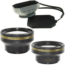 30mm Wide Angle + Telephoto Lens Kit + Hood for Sony DCR-TRV39,HDR-HC3,HDR-SR1
