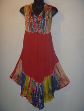 Long Tunic Top Fits Size 1X 2X 3X Plus Red Blue Tie Dye V Neck Jumper Dress 41