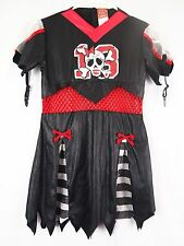 Pirate Halloween Costume Girls Black Red Dress Up Disguise 10-12 L