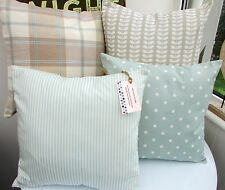 SHABBY CHIC CUSHION COVER DUCK EGG BLUE STRIPE MARLOW WHITE SEASIDE 16 COAST XX!