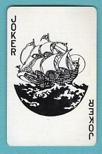 Single Swap Playing Card JOKER K87 TALL SHIP ON HIGH SEA WINDMILL DECO VINTAGE