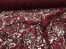 Burgundy Flower Guipure Embroider, Wedding/Bridal Fabric Lace. 1-yard.