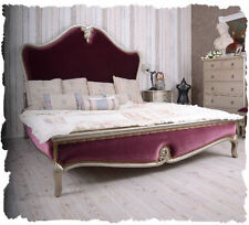 BEDROOM BED 180x200cm DOUBLE BED BAROQUE STYLE VELVET FRENCH bed