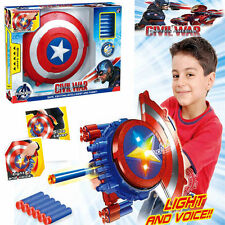 CAPTAIN AMERICA CIVIL WAR BLASTER REVEAL SHIELD LED & MUSIC KID COSPLAY GIFT TOY
