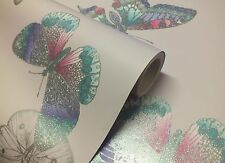 Mariana lavender with silver glitter butterfly wallpaper by arthouse (666000)