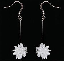 KIRKS FOLLY CZ CRYSTAL CLUSTER  PIERCED DANGLE EARRINGS silvertone
