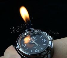 Black Men's Butane Cigarette/Cigar Lighter Refillable Wrist Watch For Adults