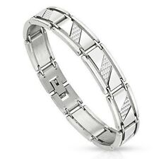 Stainless Steel with Silver Diagonal Carbon Fiber Strips Inlay Men's Bracelet