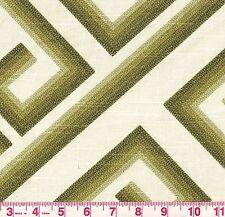 Richloom Kronos Olive Green Cream Geometric Greco Print Upholstery Fabric BTY