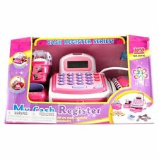 Electronic Cash Register Pink Toy Pretend Play With Sound