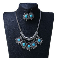 Silver Plated Chain Turquoise Chunky Bib Necklace Earrings Women Jewelry Set