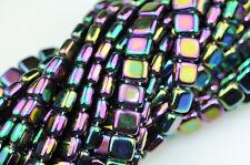 50 Purple Iris 2 Hole Czech Glass Flat Square Beads 6MM