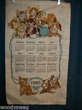 Vintage Calendar 1985 Kittens Blue Ball Playing Linen Quilt Craft Free USA Ship