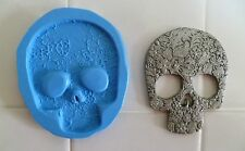 EMBOSSED SKULL SILICONE MOULD FOR CAKE TOPPERS, CHOCOLATE, CLAY ETC