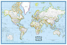 """World Classic Blue Wall Map Poster - 36""""x24"""" Rolled Laminated 2017"""