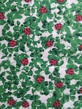 Ladybugs on Clover Green - St Pat's Print Cotton Fabric - .8 Yard x 43""