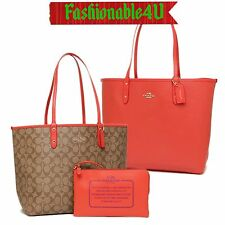 NEW AUTHENTIC COACH SIGN REVERSIBLE CITY TOTE IM/KHAKI/WATERMELON F36658 $350