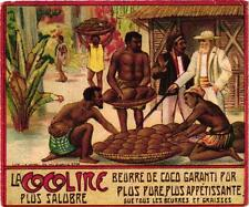 1 Card litho chromo black people Cocoa cacao Butter Coconut Trade c1890 colonies