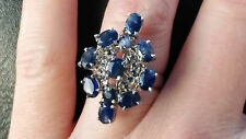 5.85 Carat Natural Sapphire Ring / Genuine African Sapphire Ring Sz 8 / 34.5 tcw