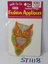 VINTAGE 1970'S EMBROIDERED PATCH HIPPIE OOH-LA-LA INSIGNIA OWL GREEN-ORANGE