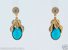 Ben-Amun Gold Plated Blue/Crystals Earrings #16121