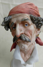 Capodemonte J. Laurent Bisque Porcelain Bust Figurine Gypsy/Pirate Man Head