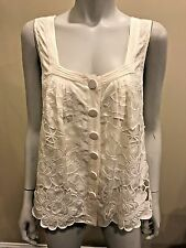 Catherine Malandrino Silk Embroidered Floral Applique Blouse Top 4 US