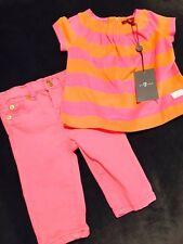 NWT 7 For All Mankind 2 Piece Outfit Pink Jeans 3-6 Months