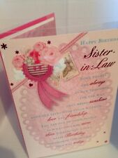 Happy birthday Sister in law card with verse on paper insert cards