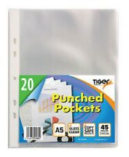 20 x A5 Clear Punched Pockets Strong Poly Plastic Sleeve Wallets - 301085
