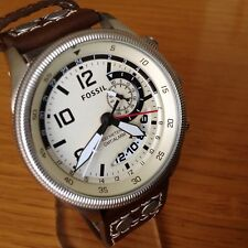 Fossil Men's Recruiter White Dial Brown Leather Watch FS5043