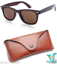 Classic brown wayfarer sunglasses with a free leather cover