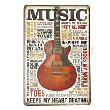 Vintage Music Guitar Picture Sheet Metal Tin Sign Poster Bar Pub Shop Wall Decor