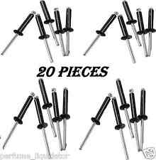 20 PC BLACK ALUMINUM TRI GRIP RIVETS FOR KAYAKS, CANOES OR BOATS