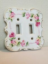 Vintage Double Light Switch Plate Cover FLOWER ROSES Ceramic Japan Shabby Chic