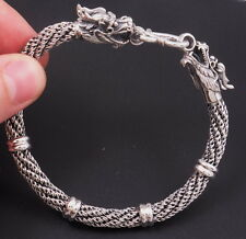 "7.8"" 38g DOUBLE DRAGON BARIDED WOVEN 925 STERLING SOLID SILVER MENS BRACELET"