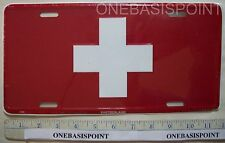 Switzerland Flag License Plate Aluminum Swiss Europe Embossed Sign Car Tag Auto