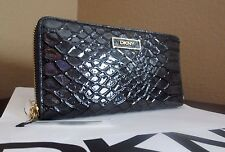 DKNY SLGS -Two Tone Enamel Python Zip Around Iron Wallet MSRP $ 115.00