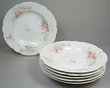 6 Antique LS&S Lewis Straus Son Rimmed Soup Bowls Limoges France Pink Roses