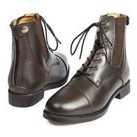 Elico Bramhope Leather Laced Zipped Paddock Jodphur Boots BROWN + Worldwide P&P