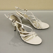 New GUCCI Leather Pumps Sandals SHOES 41/11 w/Interlocking GG Detail Ivory