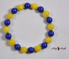 Natural Blu e Giallo Bracciale Con Perline Giada Gemstone