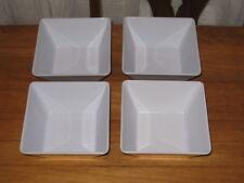 """4 WHITE HEAVY PLASTIC SQUARE DISHES – 5 1/2"""""""