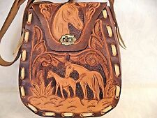 Mexican Leather Western Hand Tooled Shoulder Purse Crossbody Handbag Horses