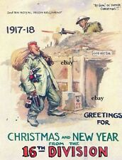 NEW COPY FRONT OF CHRISTMAS CARD 16TH IRISH DIVISION ROYAL IRISH NEW A4 PRINT