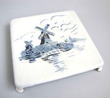Vintage Dessous de Plat Moulin à Vent Style Delft Plaque Métal Emaillée