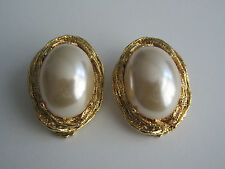 Vintage Large Textured Gold Tone Oval Faux Pearl Clip Earrings