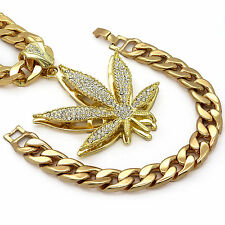 "Mens 14k Gold Plated Large Marijuana Hip Hop Pendant 30"" Cuban Chain & Bracelet"